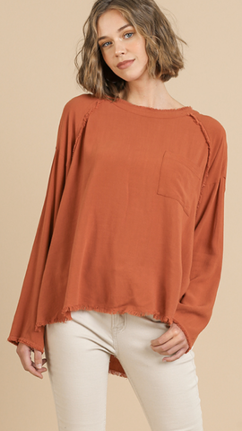 Cornelia Linen Blend Top in Sunset