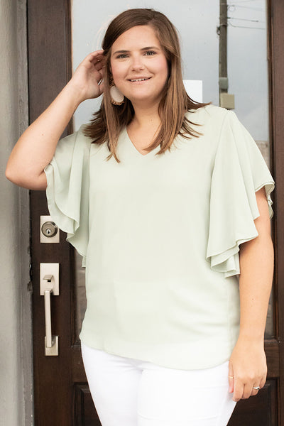 Double Layer Chiffon Top in Lt Sage (1X-3X)