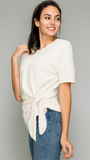 Bethany Front Tie Top in Cream
