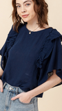 Josephine Ruffle Top in Navy