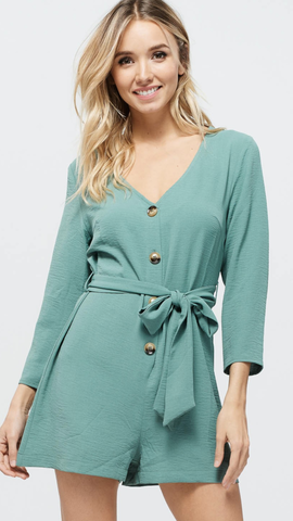 Janice Button Down Romper in Sage