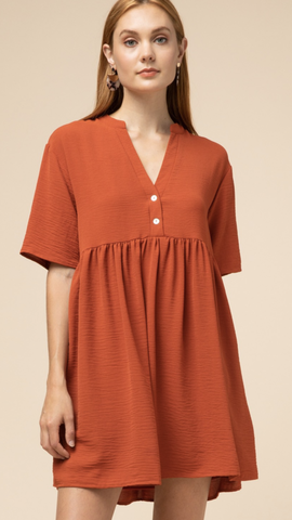 Orange V-neck Button Detail Dress