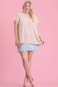 Margie Short Sleeve Top in Sand (1X-3X)
