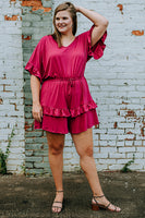 Evalin Romper in Magenta
