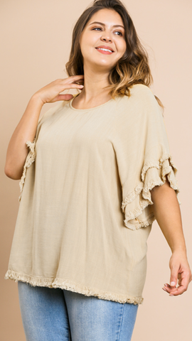 Sharon Ruffle Sleeve Top in Oatmeal (Sizes XL-2X)