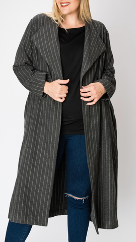 Striped Blazer Coat in Charcoal