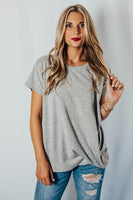 Livin The Dream Top in Heather Grey