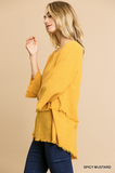 Mare 3/4 Sleeve Top in Mustard (XL-2X)