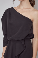 One Shoulder Pleated Dress in Black