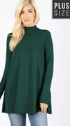 Alana Mock Neck Tunic in Hunter Green