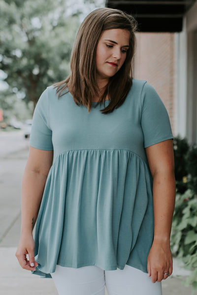 Mare Peplum Top in Seafoam (1X-3X)