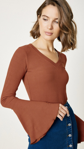 V-Neck Knit Bell Sleeve in Rust