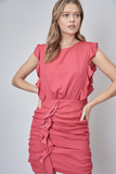 Shirred Skirt Dress in Pink
