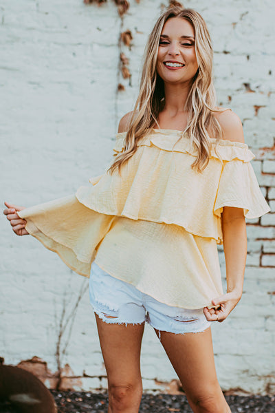 Chaina Off Shoulder Top in Yellow
