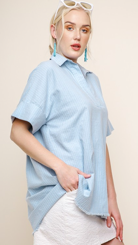 Hadley Stripes Top in Light Blue