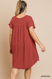 Valerie Short Sleeve Dress in Red (XL-2X)