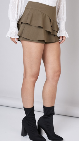 Ranken Ruffle Layer Skort in Olive