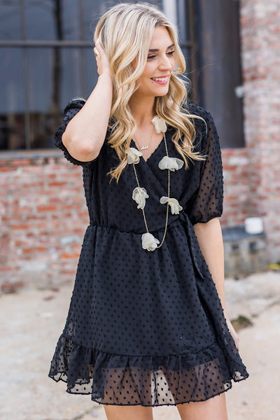 Drake Dots Dress in Black