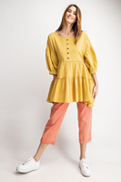 Button Front Ruffled Tunic Top in Mustard