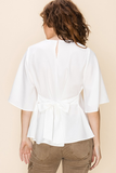 Kyley Flare Sleeve Top in White