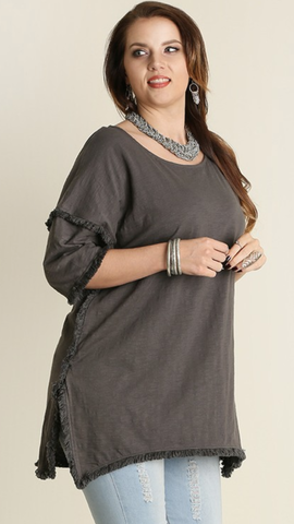 Lucia Fringe Tunic in Charcoal (XL-2XL)