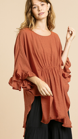 Liz Ruffle Bell Sleeve Top in Terracotta