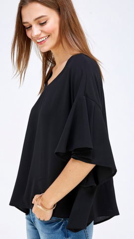 Val Black Flutter Sleeve Top