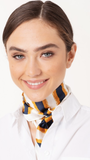 Two Tone Stripe Print Square Neck Scarf in Yellow/Cream/Navy