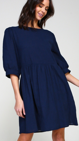 Karlee Babydoll Dress in Navy