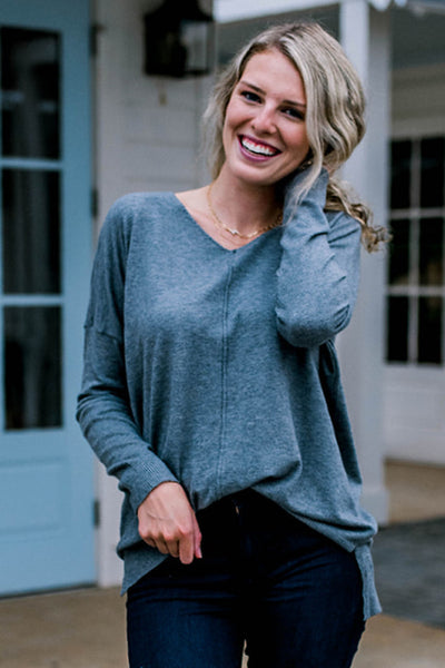 Getting Around Happy Sweater in Heather Grey