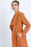 Oversized Collar Belted Trench Coat Jacket in Rust