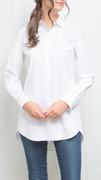 Shirred Back Tunic in white by Tyler Böe