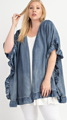 Washed Denim Open Cardigan (1X-3X)