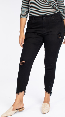 Black Distressed Skinny Jeans (XL-3X)