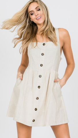 Lena Crossback Button Up Dress in Taupe