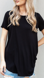 Basic Knit Round Neck Top in Black