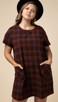 Plaid Scoop Neck Dress (XL-2X)
