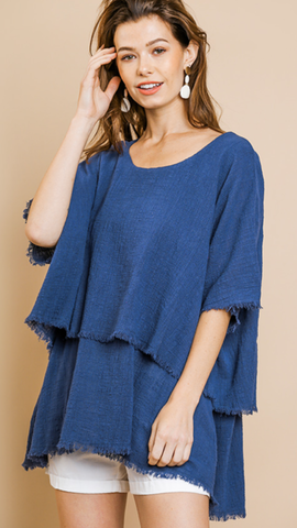 Casey Frayed Hem Top in Navy