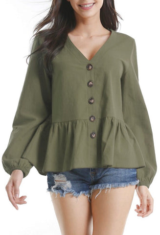 Tess Peplum Top in Olive