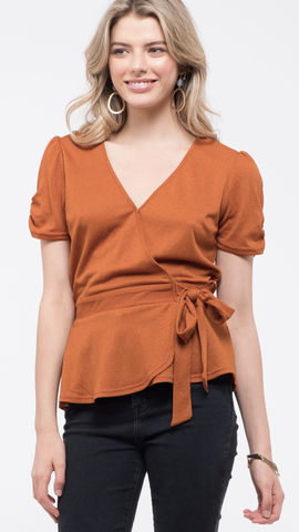 Puff-Sleeve Surplice Wrap Top