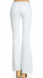 White Flare Jeans with Knee Slits by O2 Denim