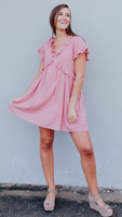 Louise Ruffle Dress in Blush