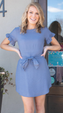 Lexy Ruffle Dress in Blue