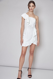 One Shoulder White Ruffle Dress