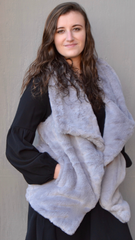 Grey Oversized Fur Vest