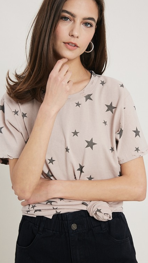 Short Sleeve Star Top in Mauve