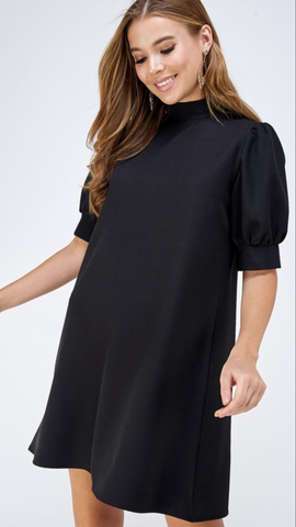 Gina Mock Neck Shift Dress in Black