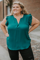 Renata Ruffle Sleeve Top in Deep Green (1X-3X)