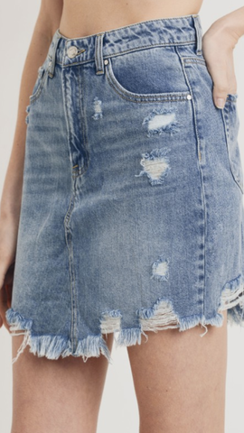 High Waist Denim Distressed Skirt