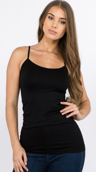 Seamless Long Cami in Black or Nude